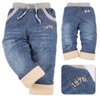 High quality 1 pcs KK-RABBIT brand thick cashmere winter kids Boys baby pants children jeans