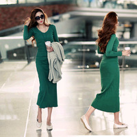 Aromatic women's basic skirt high waist long-sleeve knitted full dress sexy slim hip slim one-piece dress