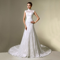 Elegant noble wedding dress short trailing quality lace small stand collar 2013