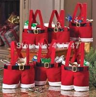 Small Size 17*16cm Christmas Santa Pants Style Christmas Candy Gift Bag 10pcs/lot
