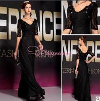 New 2014 evening dress half sleeve lace evening dress plus size women dress evening
