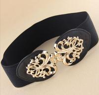 New arrival gold hollow out metal buckle elastic wide waist belt for women,fashion high quality hot sell brand cummerbunds