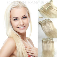 "Human Hair Clip in Extensions  14"" -30"" 35cm-75cm 70g -120g 7Pcs/Set Color #60 Light blonde Clips in Hair Extensions For Women"