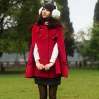 Fashion medium-long hooded cape fashion cloak batwing sleeve wool woolen overcoat outerwear female