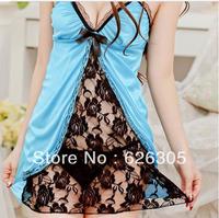 Free Shipping!!! Hotsale Sexy Lingerie Set Open Front Soft Sleepwear Babydolls Lace  Transparent  Underwear Sexy Costume