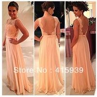 Beautiful Peach Color New Fashion Lace Floor Length Long Chiffon Nude Back Bridesmaid Dress Brides Maid Dress BN109