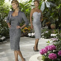 Taffeta and Lace Silver Grey Mother Of The Bride Dress With Three Quarter Sleeves Jacket