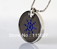 free shipping New item blue crystal stainless steel scalar energy pendant  crystal quantum energy pendant