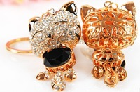 Lucky cat rhinestone bling cat keychain bags accessories car hangings women's gift