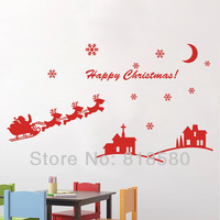 Free Shipping Home Decor Christmas Sleigh Vinyl Wall Art Stickers Wall Decals(80 x 60cm/piece)