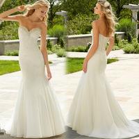 2014 New Europe Fashion Bride White Strapless Chiffon Backless Sexy Mermaid Wedding Dress Slim Fit Train Wedding Dresses A452