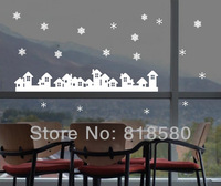 Free Shipping Home Decor Christmas House Snow Window Vinyl Wall Art Stickers Wall Decals(109 x 17cm/piece)