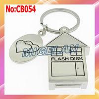 Free shipping Wholesale 4GB 8GB 16GB 32GB 64GB House USB Flash Memory Pen Drive Stick Disk with key chain #CB054