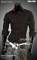 2013 autumn hot selling Men's Fashion long-sleeved pure colour shirt free shipping by china post,code number:361