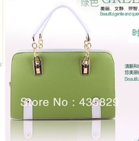 Free shipping 2014 women candy color block women's handbag vintage messenger bags Hot sale