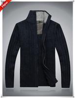 2013 Brand new men winter desigual 100% cotton Leisure Zipper cardigan long sleeve sweater Collar thk sweater Free Shipping