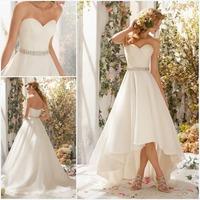 Informal Fashion Princess Free Shipping Off the Shoulder Front Short And long Back Beaded Satin Ivory Wedding Dress 2014