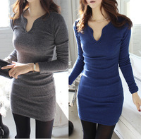 Autumn and winter new 2014 sexy slim all-match V-neck long-sleeve bodycon mini pencil dresses T003