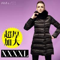 2013 women Fox fur collar white duck down coart warm slim medium-long thickening Plus size women coat ultralarge down coat