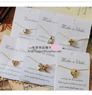 Baru hadiah natal simple bow hati-berbentuk kalung liontin perhiasan