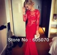 Red Lace Prom Dresses 2014 New Arrival Bridesmaid Gowns Sheath Floor Length Long Sleeves  Custom Made Long Gorgeous