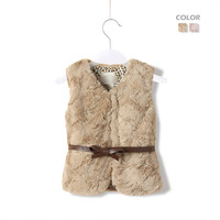 HOT SALE 2013 girls autumn  winter fur sleeveless coat with belt  child baby thickening cotton-padded faux vest 2colors