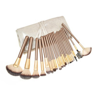 Free shipping 22pcs Professional Cosmetic Makeup Brush Set with Brown brushes pack