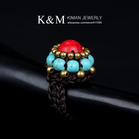 (Min order is $10) New Design Multicolor Turquoise  Ring Unique Handmade Jewelry for  Women RI-02017 Free Shipping