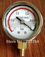 Free shipping Glycerine filled SS Vacuum Gauge Air Manometer Pressure Gauge  -1~ 0 bar