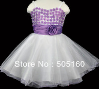 Girls' fashion sleeveless lace base group of roses bow tutu princess dress Evening group 9088..
