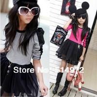 New 2014 Girl Dress Autumn Children's Long Sleeve PU Patchwork Gauze Dress Free Shipping
