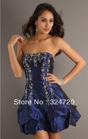 2014 new navy blue applique Short strapless prom dress with a-line skirt damas dress free shipping