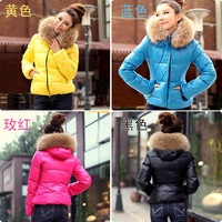 Women's winter candy color slim thickening fur collar short down coat wadded jacket design cotton-padded jacket outerwear