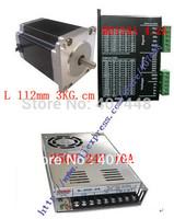 4 MB450A 4.2A  Stepper Driver & 4 Nema 23 Stepper Motor 112mm 3KG.cm 4 lines&1Power Supply  250W 24V 10A CNC Mill Router kit