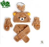 Cute Cartoon  easily bear  hat  scarf  gloves  ear cover  Plush  warm  four  Piece