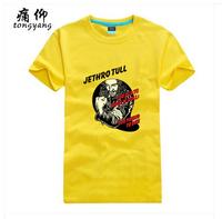 Classic Rock Pop Jethro Tull Yellow Print Tee Shirt Men Women %100 Cotton Short sleeve Fashion White T-Shirt Diamond Dogs Art