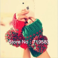 Free shipping! Warm winter gloves / half-finger gloves / knitted wool gloves lovely ball ovo, dimensions: length 16CM width 9CM