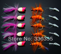 30Pcs Foam Poppers Crayfish Flies Red/White Bass Bugs Fly Fishing Lures