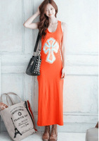 2013 Free Shipping Women's dress Stylish Special Printed Open Cuff Maxi Dress Orange free shipping