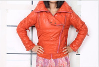 2013 New Women's Fashion Hooded Zipper Embellished Lapel Collar Warm Coat Rose orange black   BJ13092201