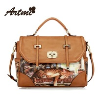 Artmi Brands New Winter 2013 Korean version of the Retro Print, Cats,High - quality PU Leather Shoulder Bag Hand Messenger Women