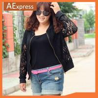 2013 New Arrival Korean Fashion Women Lace Outerwears, Short Jacket with Zipper Placket, Plus Size L, XL, XXL, XXXL, P-003