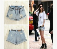 Hot Women Fashion retro Light Blue High Waist Hole Heming Jeans Denim Shorts