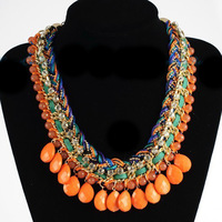 Euro-American big created diamond resin droplets rhinestone necklace hand-woven necklace for women short  chain free shipping