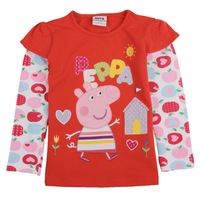 New 2013 Nova 100% cotton t-shirts kids clothes long sleeve autumn-summer embroidery peppa pig for girls christmas F4305#