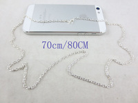 Global Free Shipping Hot Fashion Women 0.7mm Silver 18 K Gold Link Chain 27.6 in. (70cm)  31.5 in.(80cm) Dog Tag Keychain