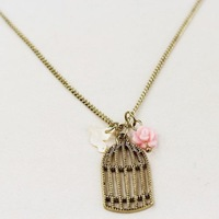Hot Sell Christmas Present Love Bird Necklace Flower and Birdcage Pendant Necklace Free shipping