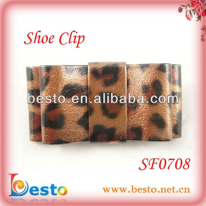 luxury leopard faux leather women's shoe ornaments decorative shoe clip(China (Mainland))