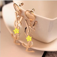 European and American classic glossy golden letters essential earrings sexy nightclub shipping over $ 10
