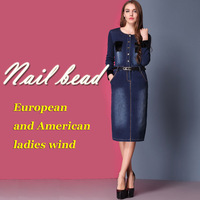 Autumn 2013 New European and American Original Single Round Neck Long-Sleeved Slim Denim Skirt Denim Skirt